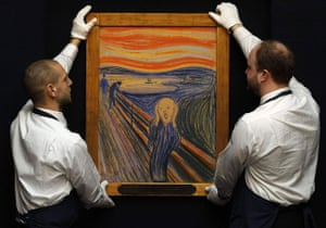 scream gallery: Edvard Munch's The Scream is readied for auction at Sotheby's in New York