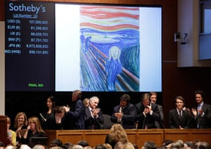 Edvard Munch The Scream: Edvard Munch's The Scream is auctioned at Sotheby's New York