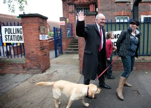 Local elections: Ken Livingstone after casting his vote at Mora Primary School