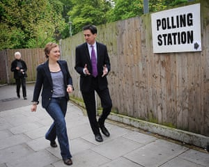 Local elections: Labour leader Ed Miliband and his wife Justine at polling station
