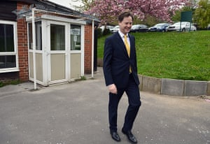 Local elections: Nick Clegg leaves Park Hill community centre after voting