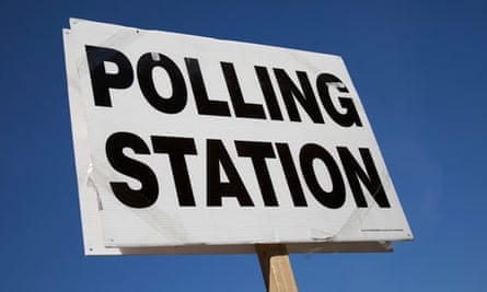Outside a Polling Station sign, London. General Election day May 6th 2010.