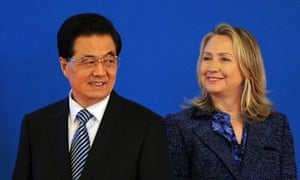 The US secretary of state, Hillary Clinton, and the Chinese president, Hu Jintao, at their talks