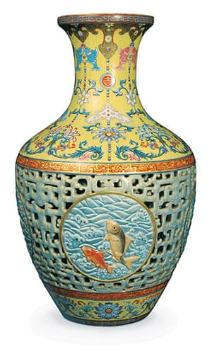 Top ten art auctions: Chinese 18th century Qianlong-dynasty porcelain vase