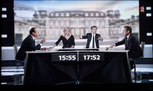 Francois Hollande and Nicolas Sarkozy in the live debate before the final vote