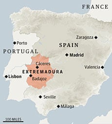 Map of Spain showing Extremadura