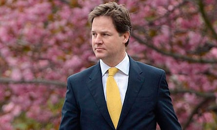 Nick Clegg on his way to cast his vote in Sheffield