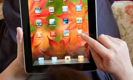 Woman with iPad tablet device