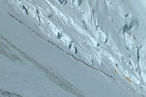 Places at risk: Queue of people on Mount Everest
