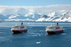 Places at risk: Two Norwegian cruise ships in Paradise Bay in Antarctica