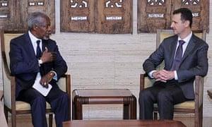 Kofi Annan, Bashar Assad, Walid Moallem, Robert Mood