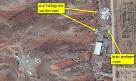 Two small buildings in the suspected testing chamber have been razed at Parchin military complex