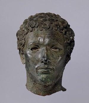 Sculpture: Bronze portrait of a North African man, 300BC