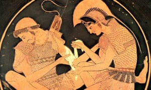 Painting of Achilles tending the wounds of Patroclus, circa 500BC