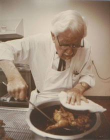Colonel Sanders cooking fried chicken