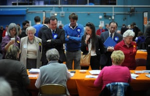 Local elections: Candidates watch as votes are counted at the Oasis Leisure Centre, Swindon