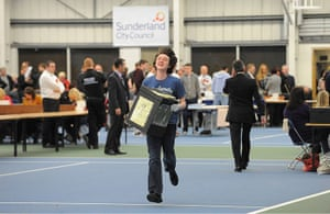 Local elections: Volunteers dash in with the first Ballot Boxes as the count in Sunderland