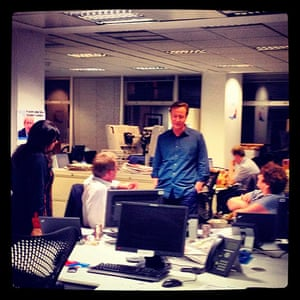 Cameron: David Cameron at the party's headquarters after polls closed