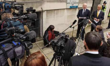 Solicitor Robyn Williams reads a statement on behalf of the family of MI6 employee Gareth Williams