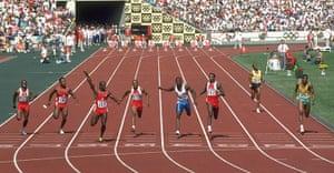 Seoul Olympics: Ben Johnson of Canada winning the 100 Metres Final