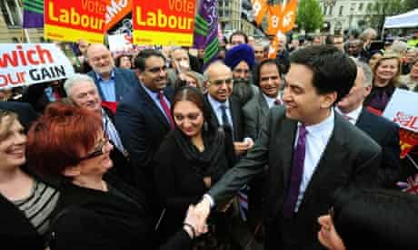 Ed Miliband meets supporters in Birmingham after Labour made significant gains in local elections