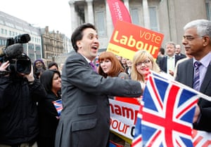 Lcoal elections: Labour Party leader Ed Miliband is congratulated by supporters Birmingham