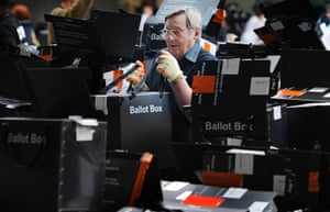 Lcoal elections: Counting staff at Olympia in London prepare to count the votes