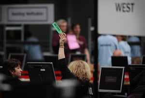 Lcoal elections: Counting staff at Olympia in London prepare to count the votes=