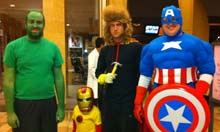 Ben Allison, Kyle Grizzle, Curtis Moore and Nathan Owens dress as Avengers characters