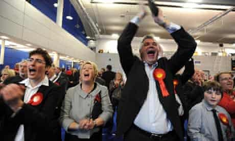 Labour supporters celebrate another gain from the Liberal Democrats at the Sheffield