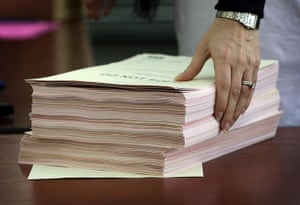 Local elections: An official prepares ballots for counting