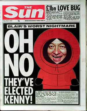 Ken Livingstone: The front page of the Sun newspaper
