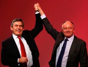 Ken Livingstone: London Mayor Ken Livingstone raises Prime Minister Gordon Brown's hand