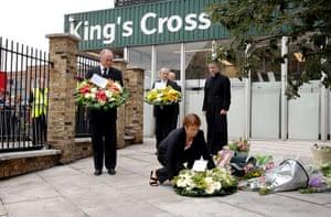 Ken Livingstone: Ken Livingstone lays a wreath at the Kings Cross station memorial garden