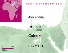 Location of Alexandria in Egypt
