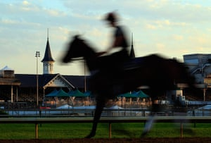 Kentucky Derby: horses train on the track in preparation for the 138th Kentucky Derby