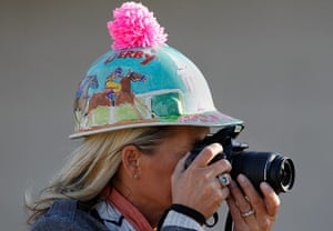 Kentucky Derby: Lisa Stemler of Louisville takes photos during morning workouts