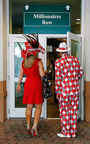 Kentucky Derby: Spectators make their way to the grandstand viewing area