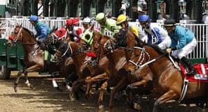Kentucky Derby: Horses break from the gate