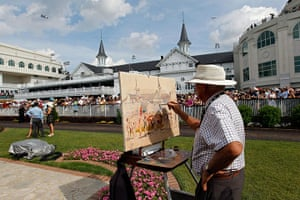 Kentucky Derby: Painter Peter Williams paints a portrait of the paddock