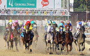 Kentucky Derby: The field come down the front stretch
