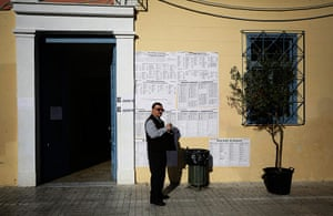 European elections: A man leaves a polling station after voting in Greece's national election