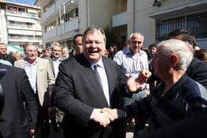 European elections: Greek Socialist Party leader shakes hands with supporters