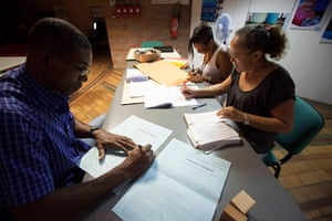 European elections: Officials work at a polling station in Remire-Montjoly, French Guiana