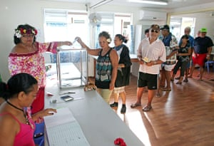 European elections: People queue to vote at a polling station in Papeete, Tahiti