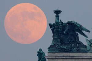 Supermoon: St. Isaak's Cathedral in St.Petersburg, Russia