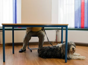Elections: A dog waits under a table while its owner casts his vote