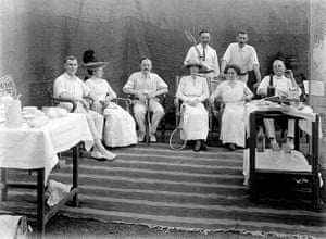British Raj photographs: An unknown group of people posing for a photograph during a tennis party