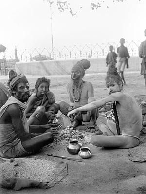 British Raj photographs: Sadhus seated near the ghats in Kolkata