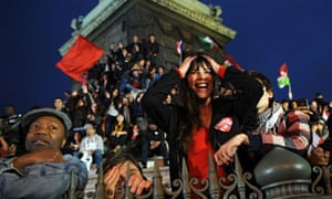 Hollande supporters in Paris